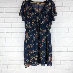 CONVERSE Blue Ruffled Romantic Slip Dress Size XL